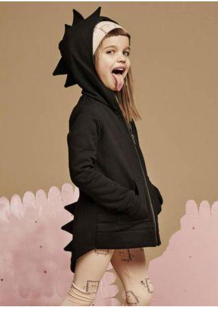 Girls Solid Dinosaur Shaped Hooded Coat Black
