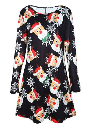 Christmas Reindeer Snowflake O-Neck Casual Dress