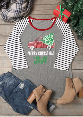 Plus Size Merry Christmas Y'all Striped Splicing Baseball T-Shirt
