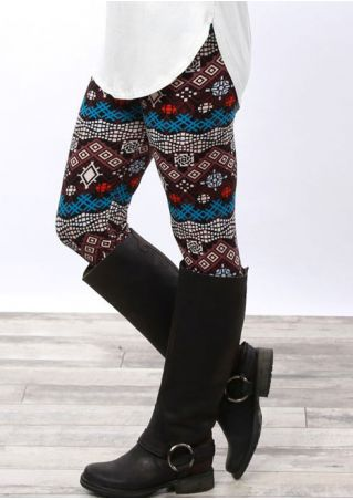 Printed Elastic Waist Leggings
