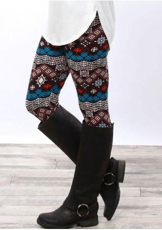 Printed Elastic Waist Leggings