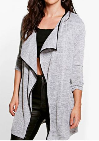 Splicing Pocket Long Sleeve Cardigan