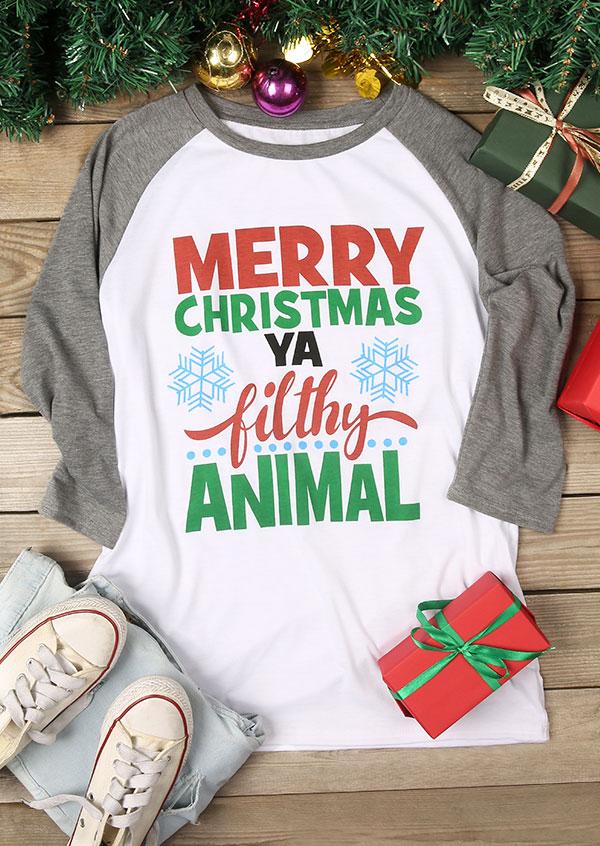 Merry Christmas Ya Filthy Animal Shirt.Merry Christmas Ya Filthy Animal Baseball T Shirt Bellelily