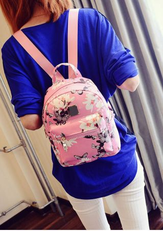 Floral Zipper Satchel Backpack