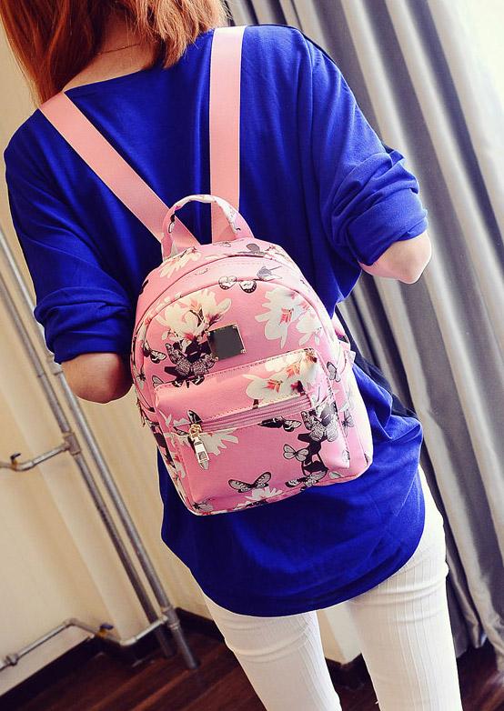 Floral Zipper Satchel Backpack