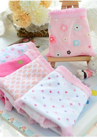 12Pcs/Set Girls Printed Soft Underwear Briefs