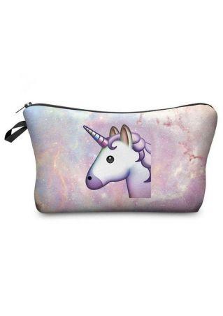 Multifunctional Unicorn Printed Makeup Bag Multicolor