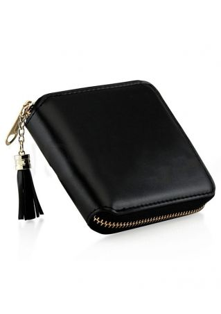 Solid Tassel Card Holder Purse Wallet