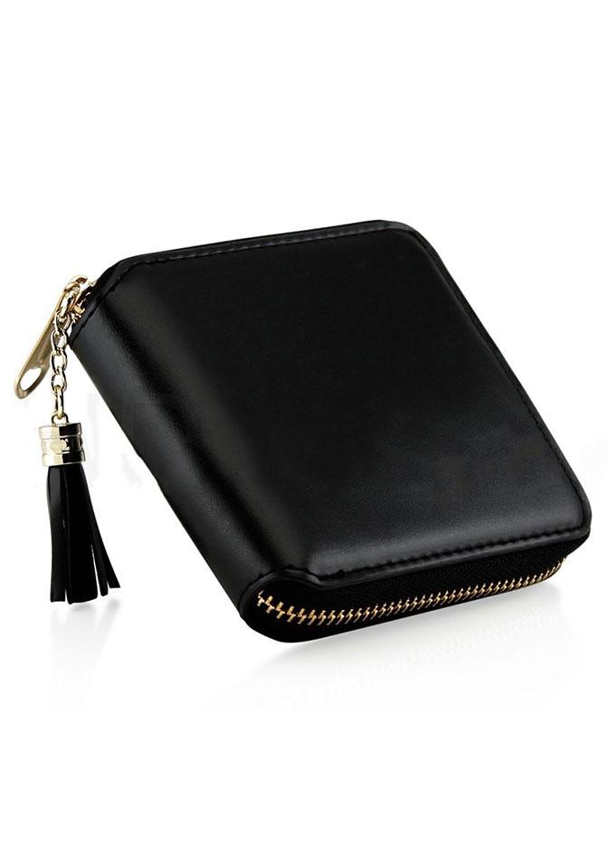 Solid Tassel Card Holder Purse Wallet