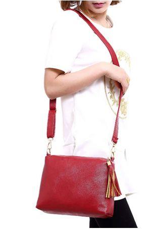 Solid Tassel PU Shoulder Bag