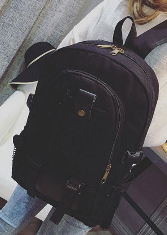Zipper Large Capacity Canvas Satchel Backpack