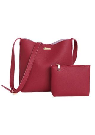 2Pcs Solid PU Shoulder Bag Packet Set