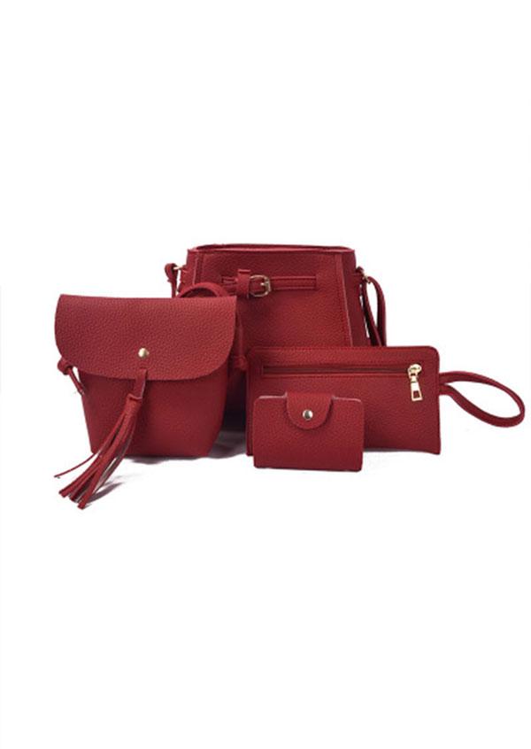 4Pcs Solid Tassel Handbag Shoulder Bag Wallet Set