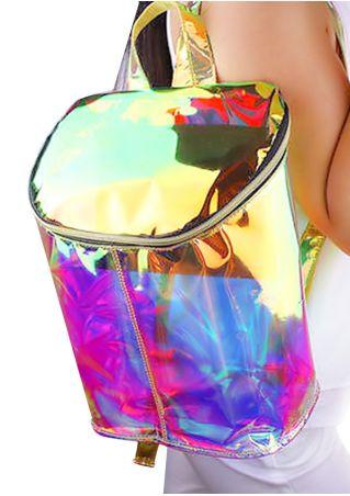 Hologram Clear Transparent PVC Backpack Multicolor