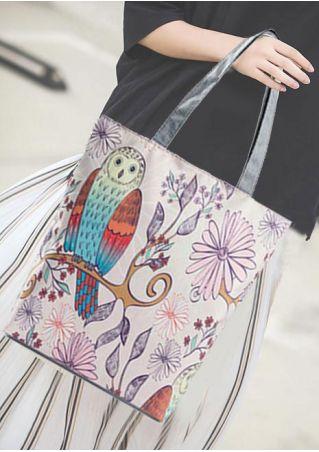 Owl Printed Canvas Handbag Shopping Bag