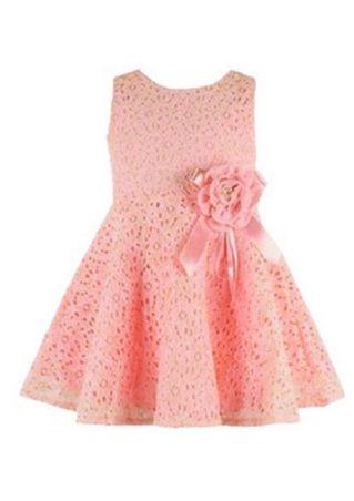 Girls Solid Flower Sleeveless Dress