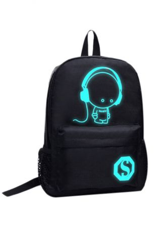 S Luminous Travel Laptop Backpack Schoolbag Black