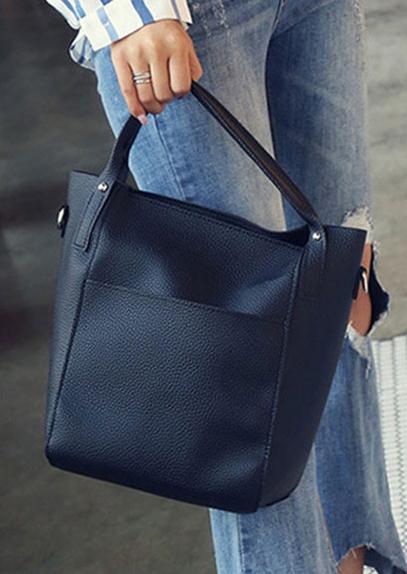 4Pcs Solid PU Handbag Shoulder Bag Purse Set