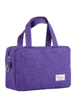 Solid Zipper Makeup Toiletry Handbag
