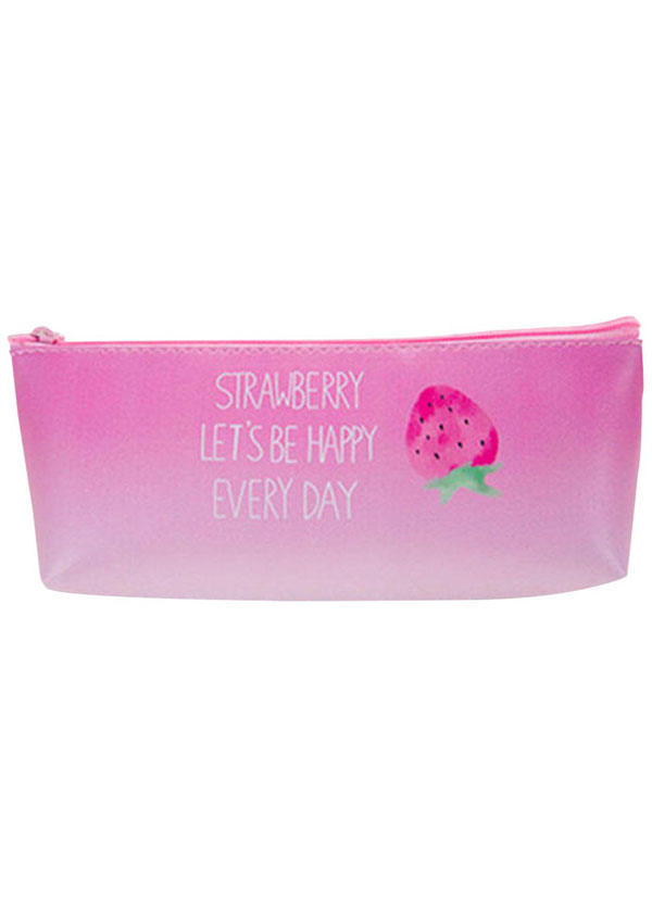 Strawberry Letter Zipper Cosmetic Bag