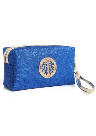 Zipper Embellishment Makeup Bag