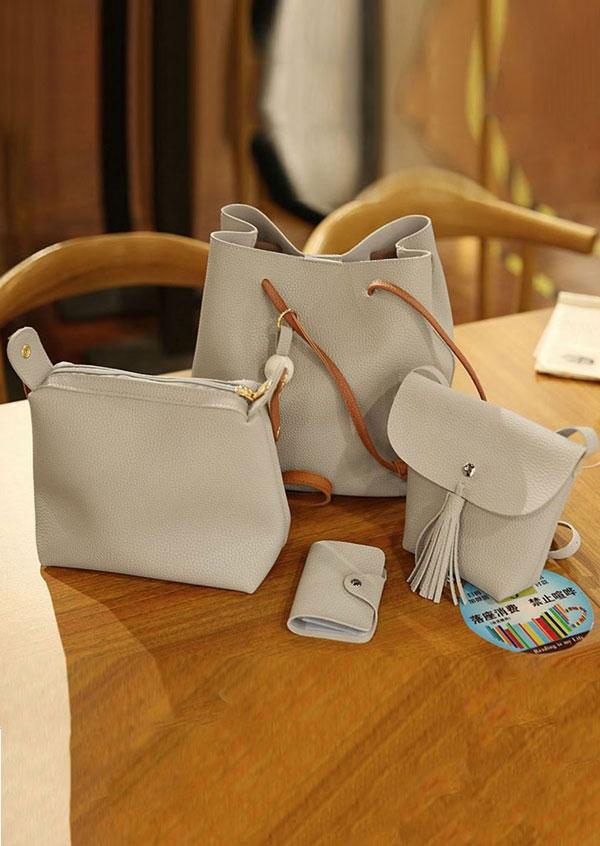 4Pcs Tassel Shoulder Bag Purse Crossbody Handbag Set