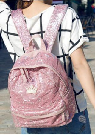 Solid Sequined Bling Bling Crown Backpack