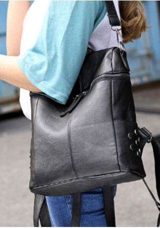 Solid PU Zipper Shoulder Bag Backpack