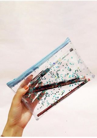 Star Laser Holographic Transparent Coin Pencil Stationery Bag