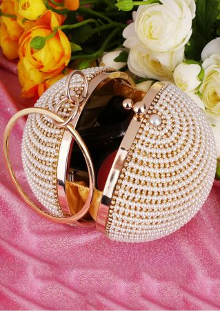 Imitated Pearl Ring Alloy Ball Bag