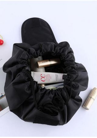 Letter Drawstring Makeup Toiletry Storage Bag Black
