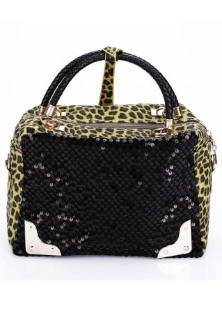 Sequined Leopard Printed Splicing Shoulder Bag Handbag