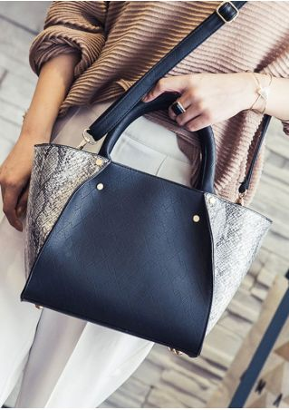 Faux Snakeskin Splicing Shoulder Bag Handbag
