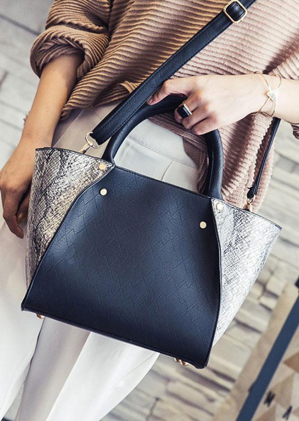 Faux Snakeskin Splicing Shoulder Bag Handbag