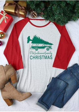 Plus Size Old Fashioned Family Christmas Baseball T-Shirt