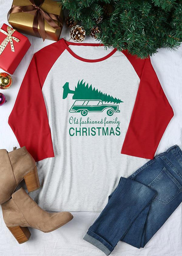 Plus Size Old Fashioned Family Christmas Baseball T Shirt