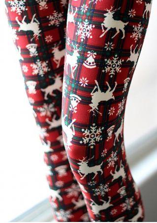 Christmas Reindeer Snowflake Skinny Leggings