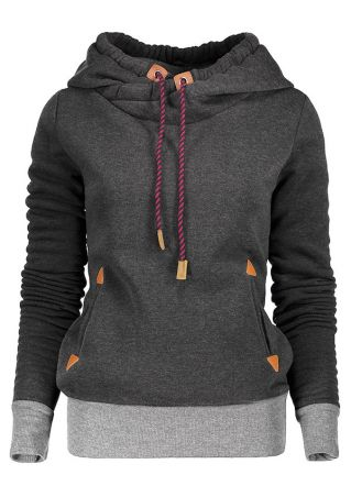 Plus Size Splicing Drawstring Pocket Long Sleeve Hoodie