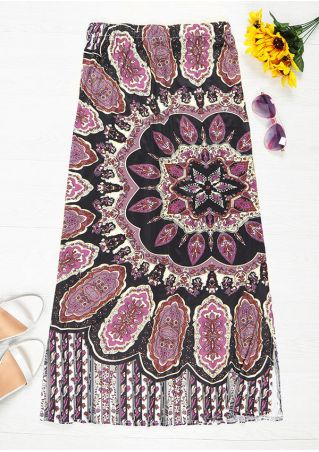 Printed Elastic Waist Maxi Skirt