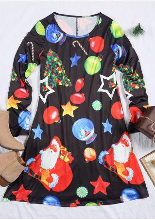 Christmas Santa Star Long Sleeve Casual Dress