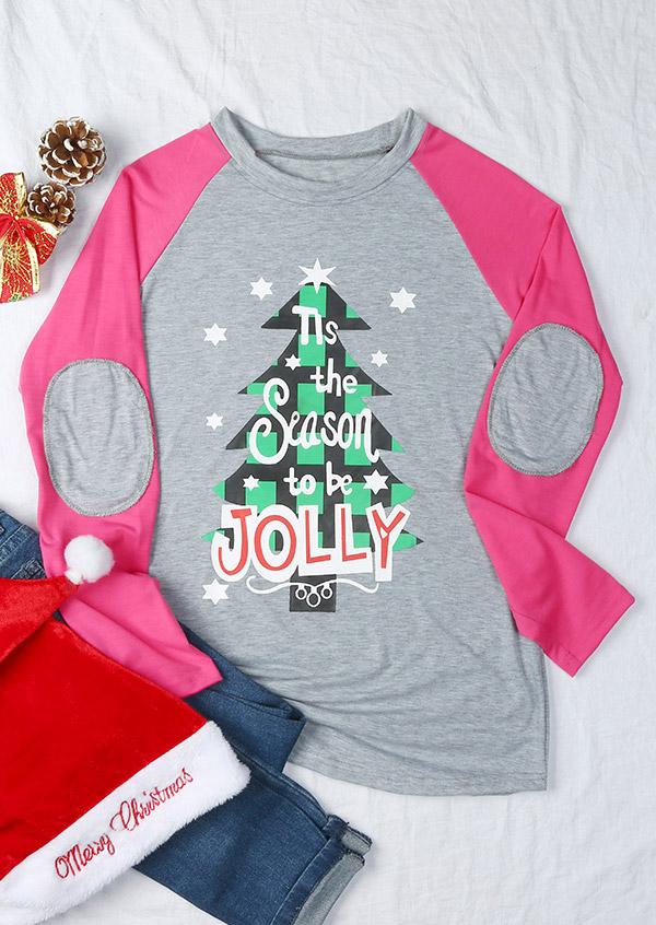 c7b8ec1d683 Christmas Tis The Season To Be Jolly Elbow Patch Baseball T-Shirt ...