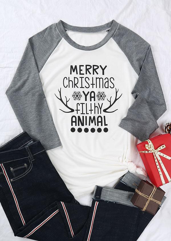 Merry Christmas Ya Filthy Animal Baseball T Shirt Bellelily