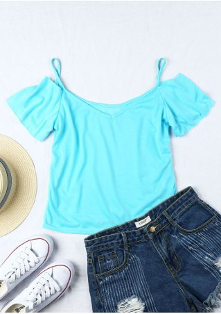Solid Cold Shoulder Spaghetti Strap Blouse