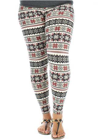 Christmas Plus Size Snowflake Elastic Waist Leggings