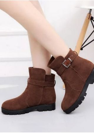 Solid Buckle Strap Round Toe Boots