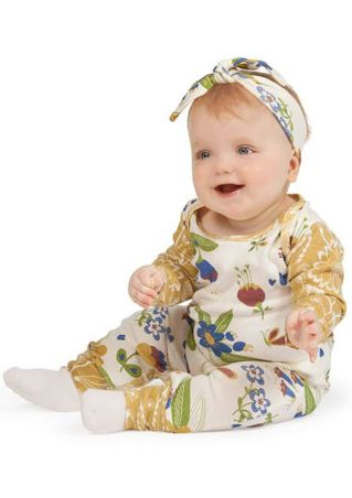 2Pcs Baby Floral Jumpsuit and Headband Set Multicolor