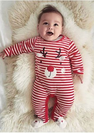 Baby  Elk Striped Jumpsuit Red