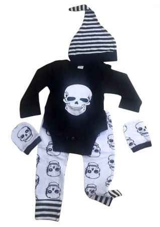 4Pcs Baby Skull Striped Romper Pants Cap and Gloves Set Black