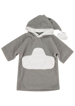 Baby Hooded Bathrobe Shower Robe Sleepwear Gray