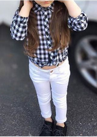 2Pcs Girls Plaid Asymmetric Long Sleeve Shirt and Pants Set